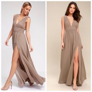 "Lulu's taupe ""Heavenly"" maxi dress"